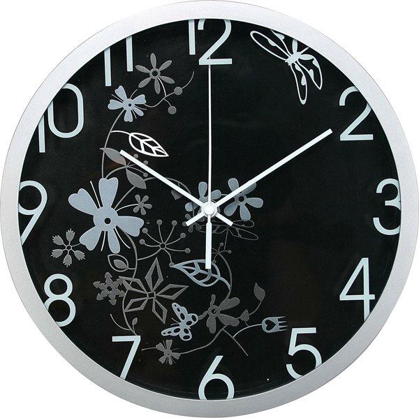 Nástěnné analogové hodiny 30 cm květinový motiv - černostříbrná