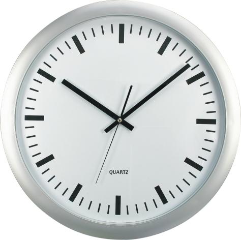 Nástěnné analogové hodiny XL 45,5 cm - stříbrná