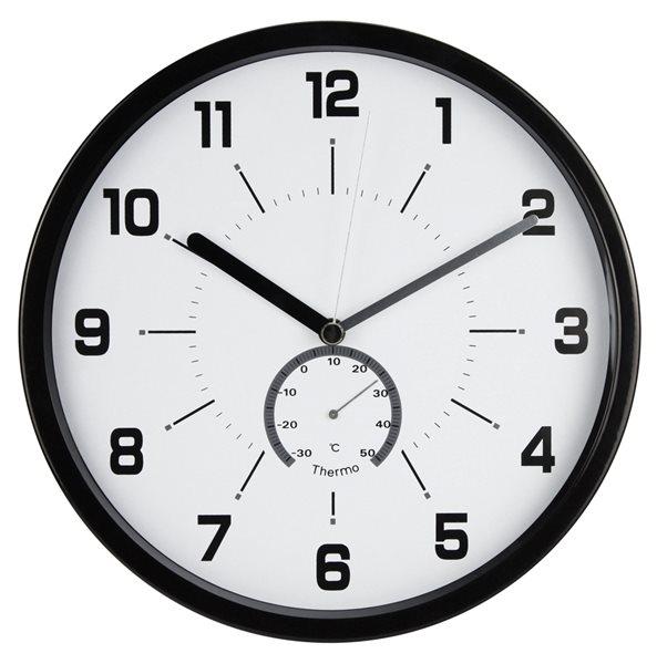 Nástěnné analogové hodiny s teploměrem, 30 cm - černá