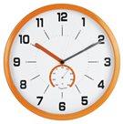 Nástěnné analogové hodiny s teploměrem, 30 cm - oranžová