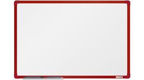 boardOK Bílá magnetická tabule s emailovým povrchem 60 × 90 cm, červený rám