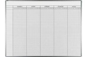Rozvrhová tabule ekoTAB 100 × 140 cm, s týdenním rozvrhem hodin pro 40 tříd