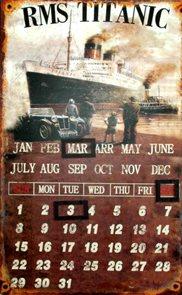 Plechový kalendář Titanic