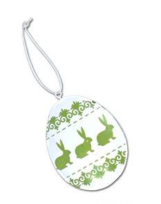 Plechová kraslice zelená Zajíček