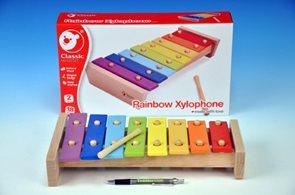 Xylofon dřevěný, duhový s paličkou