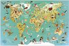 Nástěnná magnetická mapa světa 78 dílků anglické texty, Vilac