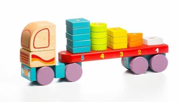 Kamion s geometrickými tvary - dřevěná skládačka