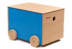 Dřevěný box na kolečkách - oranžový