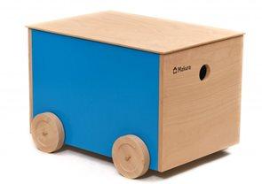 Dřevěný box na kolečkách - zelený