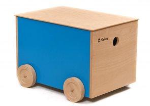 Dřevěný box na kolečkách - fialový