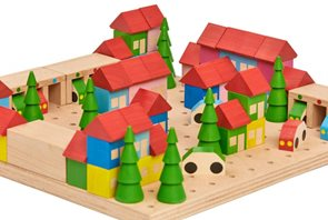 Dřevěná stavebnice Městečko, 89 dílů