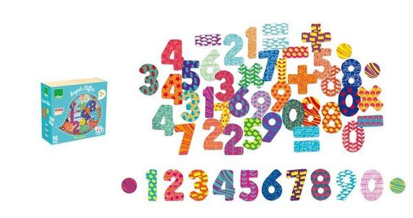 Dřevěné magnetky Čísla - 56ks