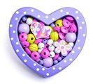 Navlékací korálky - Malé srdíčko fialové