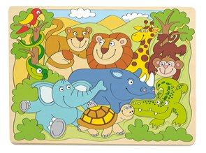 """Puzzle na desce """"Africká veselá zvířátka"""""""