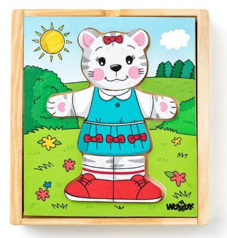 Puzzle šatní skříň Kočička, 18 dílů