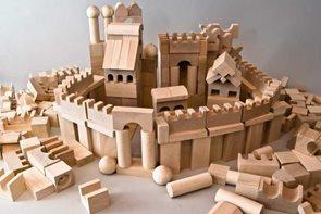 Dřevěné kostky v tubě - přírodní 220 ks XL