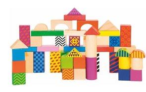 Stavebnice kostky barevné s potiskem v kyblíku, 50 ks