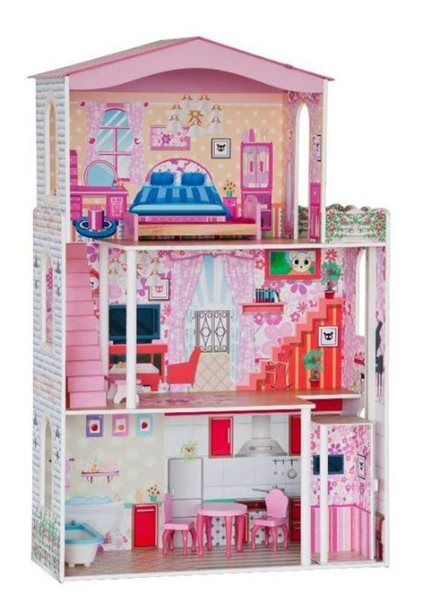 Domeček - velký, 7 ks nábytku (pro paneny typu Barbie), Sleva 23%