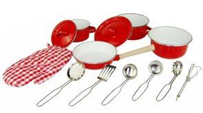 Červené kuchyňské nádobí s chňapkou, 13 ks