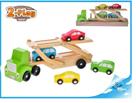 Dřevěný tahač s autíčky 4ks