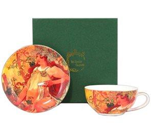 Porcelánový šálek s podšálkem Alfons Mucha Podzim 300ml v dárkovém balení