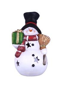 Svícen Sněhulák s dárkem 20 cm