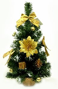 Stromeček zdobený Poinsettia zlatá 40 cm