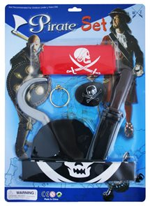 Pirátská sada s vlajkou 6 ks