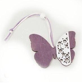 Dřevěný  motýl fialový
