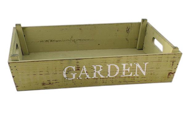 Dřevěná přepravka Garden zelená velká - 40 × 24 x 8 cm