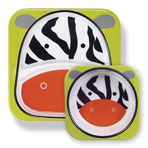 Skip hop ZOO Jídelní set miska talířek 2v1 Zebra