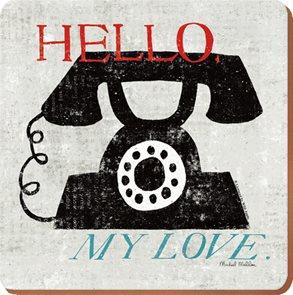 Korkové prostírání pod skleničky POSTCARD Hello My Love