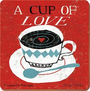 Korkové prostírání pod skleničky POSTCARD Cup of Love