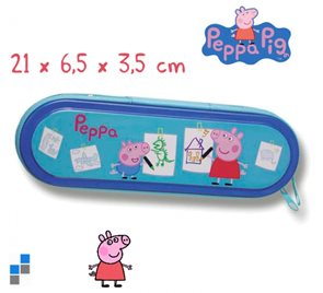 Školní pouzdro kovové Prasátko Peppa - Pepina modré
