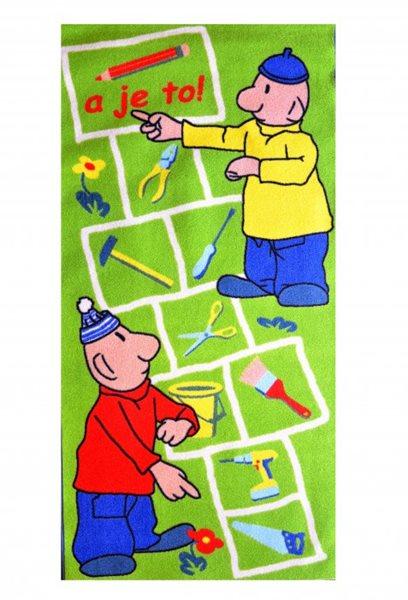 Dětský koberec Pat a Mat Skákací panák 80 x 160 cm