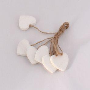 Svazek dekorativní srdcí - bílé