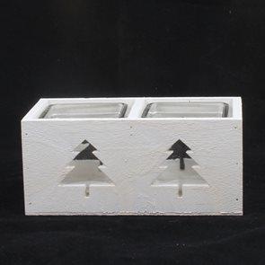 Vánoční svícen Stromek bílý dvojitý