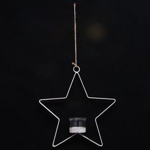 Kovový svícen bílý závěsný Hvězda
