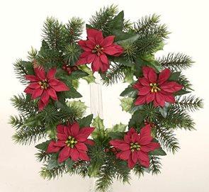 Umělý věnec Vánoční hvězda 28 cm
