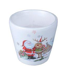 Svícen se svíčkou Santa a kamarádi