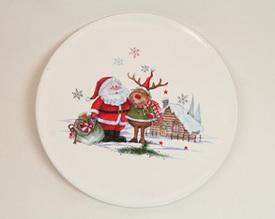 Dekorační keramický talíř Santa a kamarádi 15 cm