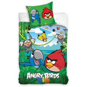 TipTrade Bavlněné povlečení Angry Birds Jungle 140x200 70x80cm