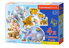 Puzzle sada 4v1- Zvířátka ZOO- sada 4,5,6 a 7 dílků