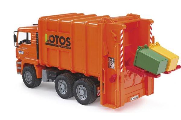 MAN TGA popelářské auto oranžové se 2 popelnicemi BRUDER
