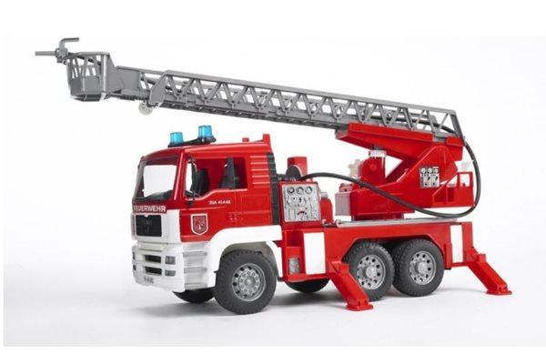 MAN TGA hasičské auto s výsuvným žebříkem, pumpou, světly a zvuky BRUDER