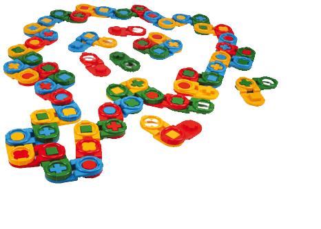 Domino Wader - plastové kostky v boxu- 64 ks