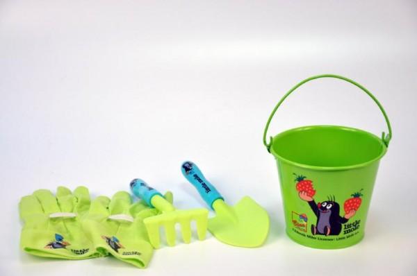 Zahradní nářadí dětské s kbelíkem průmět 15 cm, /plast a plech/ Krtek