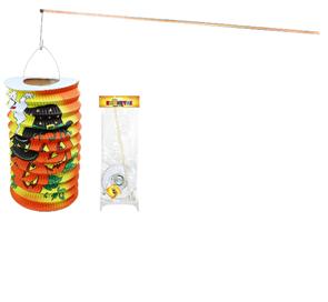 Lampion HALLOWEEN s dřevěnou hůlkou, 15 cm