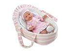 Panenka/miminko vonící 28cm růžové měkké tělo v tašce na baterie
