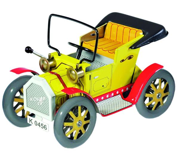 Dědeček automobil Kovap, kovový 13cm na pérový strojek